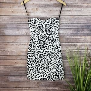 H&M Snow Leopard Strapless Dress Size 6